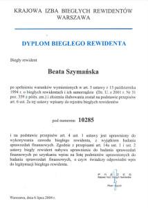 Dyplom Biegłego Rewidenta - Beata Szymańska