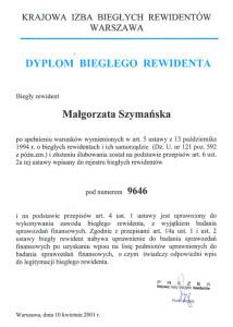 Dyplom Biegłego Rewidenta - Małgorzata Szymańska